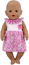 3a828a17e21c87 Roze jurk met bloemetjes en strikje voor Baby Born of pop met lengte van 38  tot