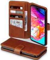 Hoesje voor Samsung Galaxy A70, luxe echt leren 3-in-1 bookcase, cognac bruin