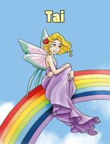 Tai: Personalized Composition Notebook - Wide Ruled (Lined) Journal. Rainbow Fairy Cartoon Cover. For Grade Students, Eleme