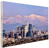 Los Angeles met bergen Hout 30x20 cm - klein - Foto print op Hout (Wanddecoratie)