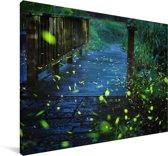 Vuurvliegjes over een brug Canvas 180x120 cm - Foto print op Canvas schilderij (Wanddecoratie woonkamer / slaapkamer) XXL / Groot formaat!