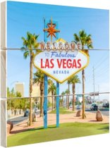 Welkomstbord Las Vegas bij daglicht Hout 160x120 cm - Foto print op Hout (Wanddecoratie) XXL / Groot formaat!