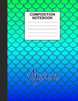 Amina Composition Notebook: Wide Ruled Composition Notebook Mermaid Scale for Girls Teens Journal for School Supplies - 110 pages 7.44x9.338