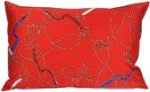 Sierkussen - Layton - Paarden riemen, bitten en kettingen - 40x60 cm - Rood