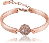 Roxi Armband - Halve Kristal Bol - Staal Rosekleurig PVD - 18 cm