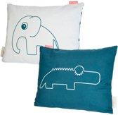 Done by Deer Kussen olifant en krokodil blauw