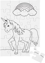 Puzzel, unicorn, A5 15x21 cm, wit, 2stuks