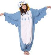 KIMU Onesie uil pak blauw kostuum - maat L-XL - uilenpak jumpsuit huispak festival