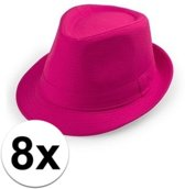 8x Voordelige Toppers roze trilby hoedjes