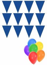 Pakket 3x vlaggenlijn / slinger XL blauw incl gratis ballonnen