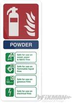 Waarschuwingsbord: Poeder brandblusser 202 x 82 mm, zelfklevend
