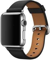 By Qubix - classic leren band voor Apple watch 38/40mm - Kleur: Zwart - Gespsluiting - Maat: S/M 140 mm - 185 mm