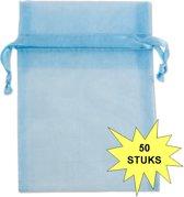 Fako Bijoux® - Organza Zakjes - 7x9cm - Lichtblauw - 50 Stuks
