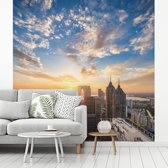 Fotobehang vinyl - Zonsopkomst in Suzhou breedte 280 cm x hoogte 280 cm - Foto print op behang (in 7 formaten beschikbaar)