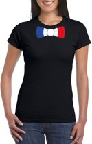 Zwart t-shirt met Frankrijk vlag strikje dames L