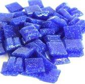 Glas mozaïek steentjes 10 x 10 mm kleur Donkerblauw ± 300 gram