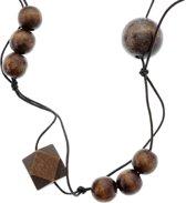 Lange ketting van touw met bruine houten kralen