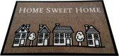 """Deurmat ''Home sweet Home"""" Huisjes Bruin 50x70 CM"""