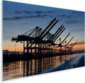 De haven van het Amerikaanse Oakland met een kleurrijke hemel Plexiglas 180x120 cm - Foto print op Glas (Plexiglas wanddecoratie) XXL / Groot formaat!
