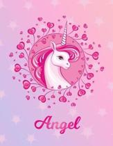 Angel: Unicorn Sheet Music Note Manuscript Notebook Paper - Magical Horse Personalized Letter I Initial Custom First Name Cov