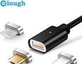 Elough® 3 in 1 Magnetisch kabel- 2.4A. Sneller Laden USB Laad en Datakabel geschikt voor de MICRO USB / USB- C / Lightning 8-Pin poorten - ZWART