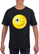 Smiley/ emoticon t-shirt knipoog zwart kinderen M (134-140)