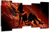 Canvas schilderij Vrouw | Zwart, Oranje, Geel | 150x80cm 5Luik