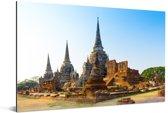 Mooie blauwe lucht boven de tempels in Ayutthaya Aluminium 90x60 cm - Foto print op Aluminium (metaal wanddecoratie)