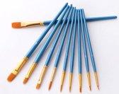 Schilderen op nummer penselen - 10-delige Aquarel schilderset - penselen voor fijnschilderen - verf penselen