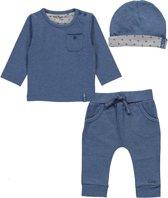 Dirkje Basics Jongens Set (3delig) Blauw Shirt en Broek Blauw met Mutsje - Maat 56