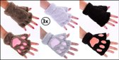 3x Paar vingerloze handschoenen pluche dierenpootje assortie