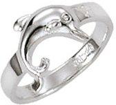 Classics&More - Zilveren Ring - Maat 44 - Dolfijn