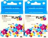 FLWR - Inktcartridge / 304XL 2-pack Zwart en Kleur - Geschikt voor HP
