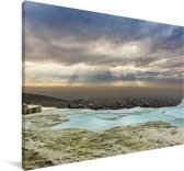 Zonnestralen over Pamukkale in Turkije Canvas 60x40 cm - Foto print op Canvas schilderij (Wanddecoratie woonkamer / slaapkamer)