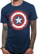 Marvel Civil War Captain America Distressed Shield Logo TShirt M