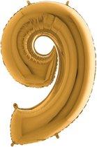 Folieballon cijfer 9 goud (100cm)
