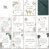 Wenskaartenset - 10 Populaire Kaarten - 12.5 x 17.5 cm - Verjaardag, Felicitatie, Succes, Geboorte, Familie, Steun, Liefde, Zomaar