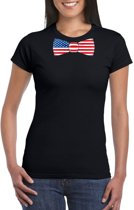 Zwart t-shirt met Amerika vlag strikje dames L