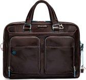 Piquadro Blue Square - Mahogany Brown - 15 inch Laptoptas