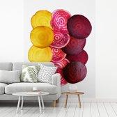 Fotobehang vinyl - Plakken van bieten in verschillende kleuren breedte 295 cm x hoogte 400 cm - Foto print op behang (in 7 formaten beschikbaar)