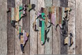 Fotobehang World Map Wood Planks | M - 104cm x 70.5cm | 130g/m2 Vlies