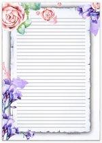 Schrijfblok Watercolor Flowers - 50 vel A4 formaat gelinieerd papier