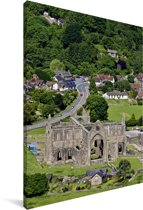 Luchtfoto van de Tintern Abbey in het Verenigd Koninkrijk Canvas 120x180 cm - Foto print op Canvas schilderij (Wanddecoratie woonkamer / slaapkamer) XXL / Groot formaat!