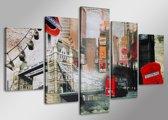 Schilderij - Londen, Collage, 160X80cm, 5luik