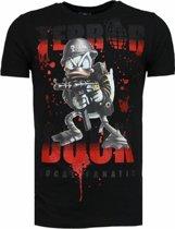 Local Fanatic Terror Duck - Rhinestone T-shirt - Zwart - Maten: M