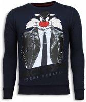 Local Fanatic Pussy Cat - Rhinestone Sweater - Blauw - Maten: XL
