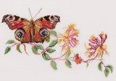 Thea Gouverneur Borduurpakket 439 Dagpauwoog  Kamperfoelie vlinder - Linnen stof