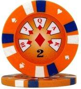 Pokerchip 3-Color Clay 13,5 Gram Oranje 2 Per 25