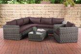 Clp Wicker Poly rotan lounge set TIBERA, met opbergruimte (2 x 2-zitsbank + fauteuil + hoekbank + tafel 110 x 60 cm + 9 cm dikke bekleding) 5 mm dikke poly rotan - kleur rotan : grijs gemeleerd Bekleding: terra bruin