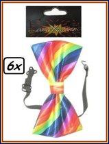 6x Strik luxe regenboog kleuren